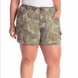 Democracy Palm Print Drawstring Utility Shorts